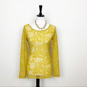 Ella Moss Marigold Yellow Lace Long Sleeve Top M